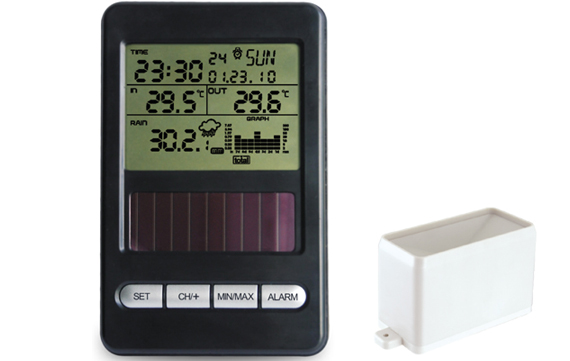 WH0540 Solar powered rain meter with temperature and RCC clock